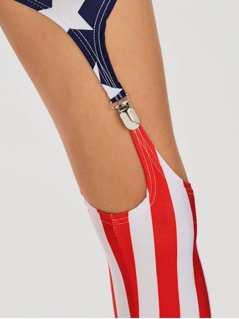 outfits Cut Out American Flag Patriotic Leggings - COLORMIX 2XL Mobile