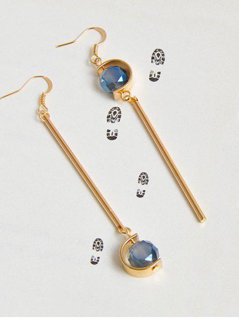 Faux Sapphire Ball Bar Hook Earrings - Or  Mobile