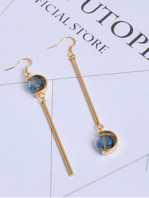 Pendientes Faux Sapphire Ball Bar Hook - Dorado  Mobile