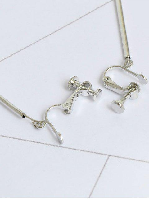 outfit Metal Half Circle Ball Bar Earrings - SILVER  Mobile