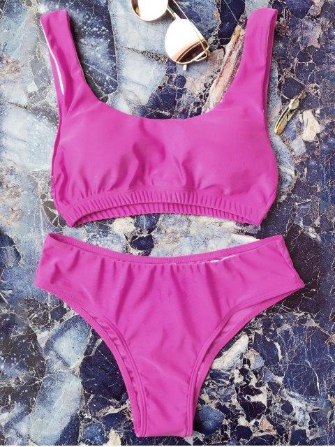 affordable Padded Scoop Bikini Set - ROSE RED S Mobile