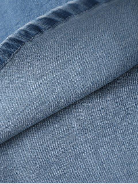 latest Floral Embroidered Lace Up Denim Skirt - DENIM BLUE S Mobile