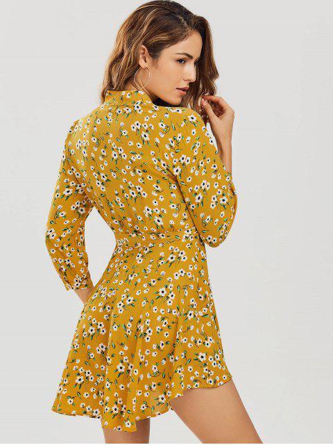 fashion Floral Asymmetrical Wrap Mini Dress - FLORAL M Mobile