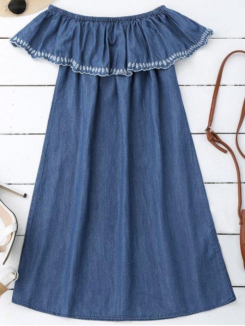 Mini-robe brodée à l'épaule - Denim Bleu S Mobile
