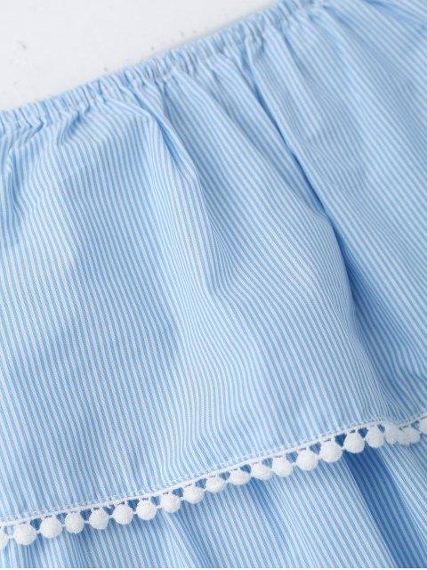 Robe Mini Rayée aux épaules dénudées embellie patchwork de dentelle - Rayure S Mobile