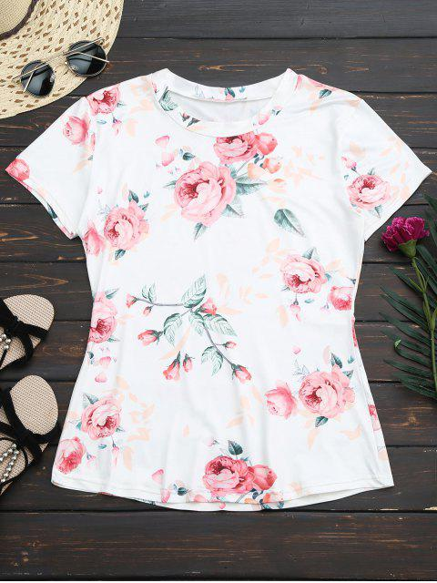 fashion Floral Short Sleeve Tee - WHITE M Mobile