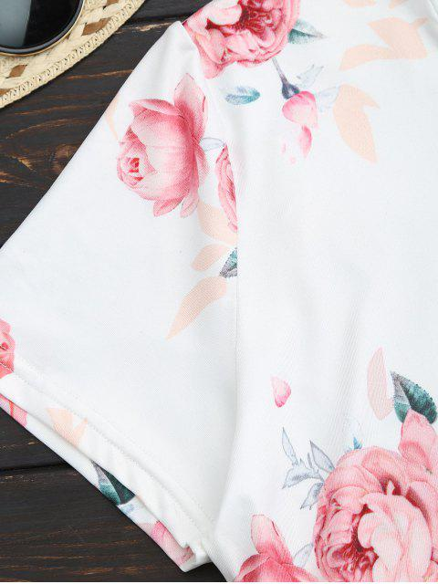 chic Floral Short Sleeve Tee - WHITE L Mobile