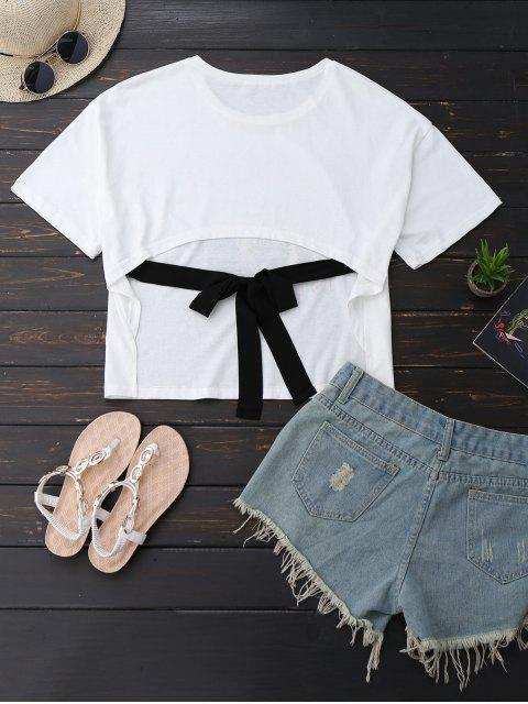 affordable Oversized Printed Back Bowknot T-Shirt - WHITE S Mobile