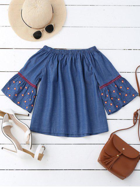 women Flare Sleeve Embroidered Off Shoulder Blouse - DENIM BLUE S Mobile
