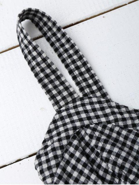 trendy Smocked Houndstooth Cropped Tank Top - CHECKED S Mobile