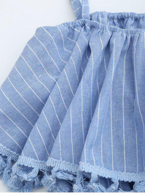 Combishorts rayé col superposé à franges - Bleu clair TAILLE MOYENNE Mobile