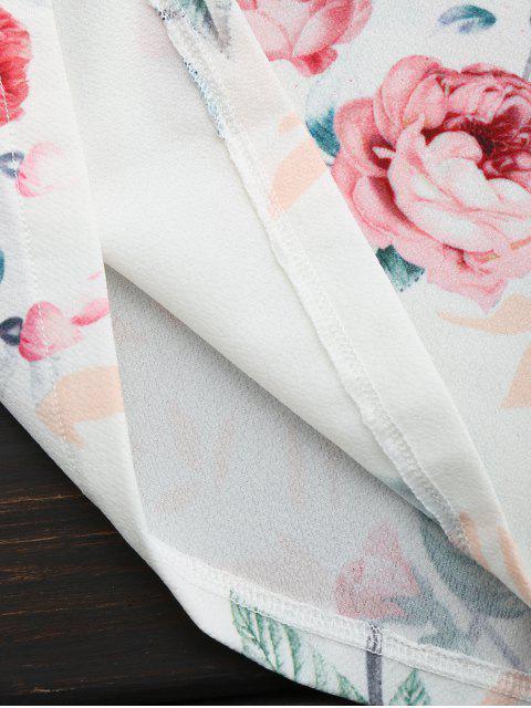 Combinaison Caraco Imprimée Florale Croisée - Blanc M Mobile