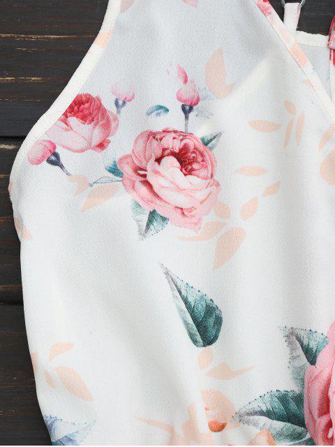 unique Criss Cross Cami Floral Romper - WHITE L Mobile