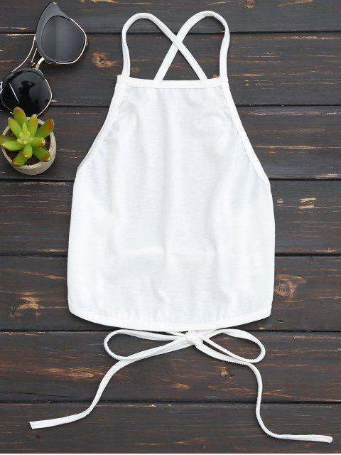 best Open Back Cropped Tank Top - WHITE XL Mobile