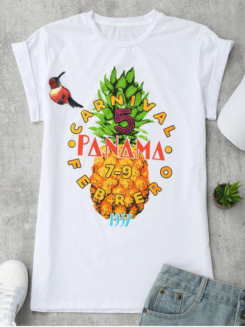T-shirt à motifs d'ananas, de lettre et de patchwork - Blanc L Mobile