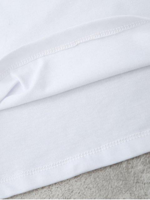 T-shirt à motifs d'ananas, de lettre et de patchwork - Blanc M Mobile
