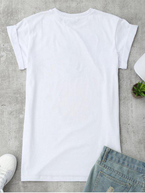 T-shirt à motifs d'ananas, de lettre et de patchwork - Blanc S Mobile