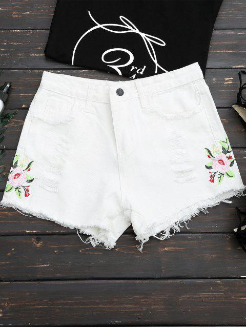 chic Frayed Hem Floral Embroidered Ripped Shorts - WHITE L Mobile