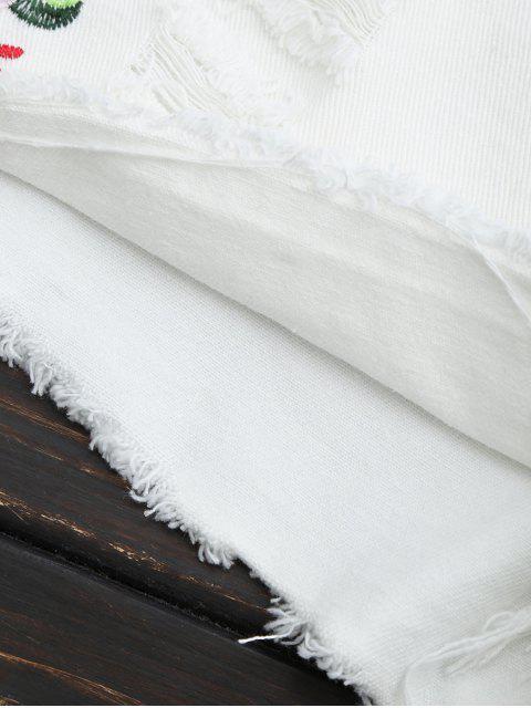 Shorts déchirés à motifs brodés - Blanc L Mobile