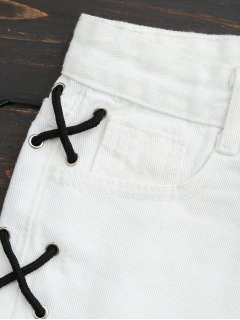 shorts déchirés en jean à lacets de deux côtés - Blanc M Mobile