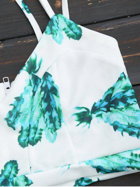 Retour Zipper Criss Cross Crop Top avec Plant Short - Blanc L Mobile