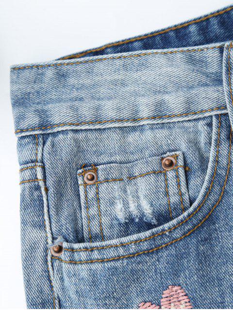 Shorts Denim à découpe brodé brodé - Denim Bleu L Mobile