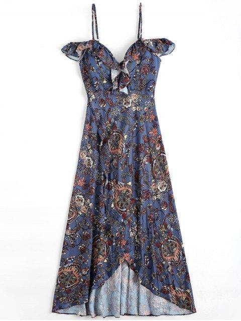 fashion Floral Asymmetrical Cold Shoulder Beach Dress - FLORAL S Mobile