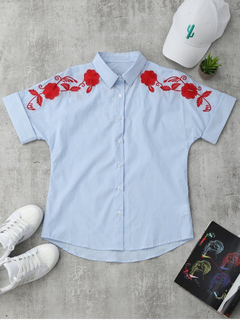 outfit Short Sleeve Floral Embroidered Stripes Shirt - STRIPE S Mobile