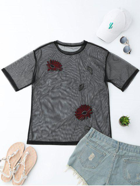 women Floral Embroidered See-Through Mesh Top - BLACK S Mobile