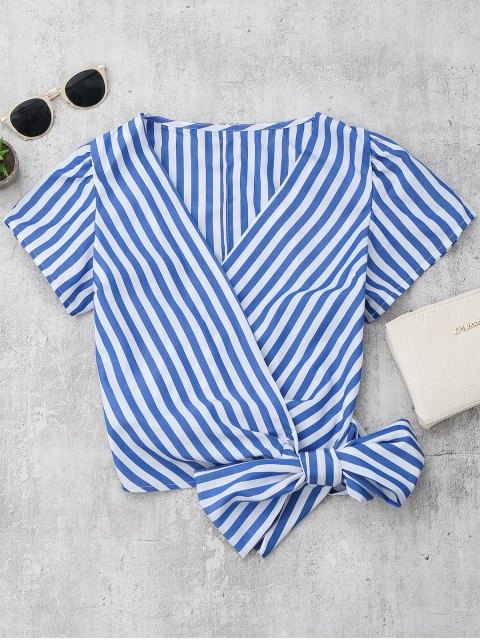 ladies Striped Wrap Cropped Top - BLUE M Mobile