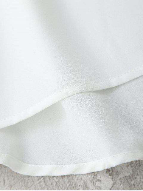 online Embroidered Ruffles Off Shoulder Mini Dress - WHITE M Mobile
