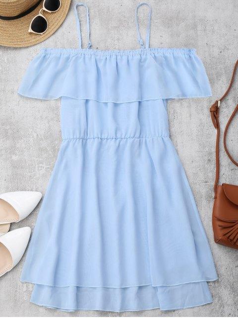 Rüschen Chiffon Cold Schulter Mini Kleid - Helles Blau M Mobile