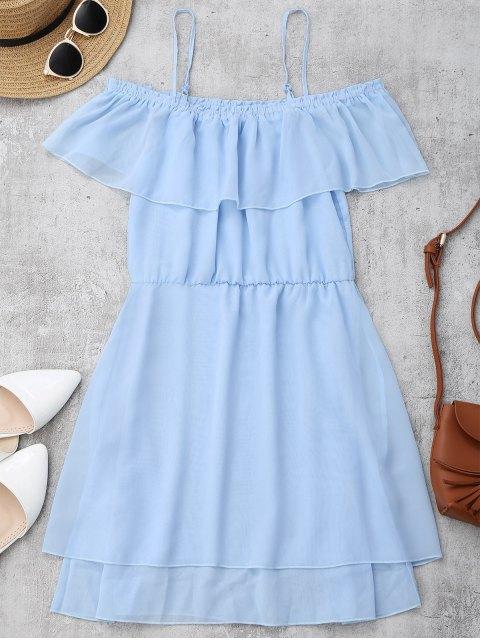 latest Ruffles Chiffon Cold Shoulder Mini Dress - LIGHT BLUE S Mobile