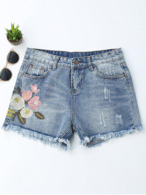 womens Embroidered Ripped Cutoffs Denim Shorts - DENIM BLUE S Mobile