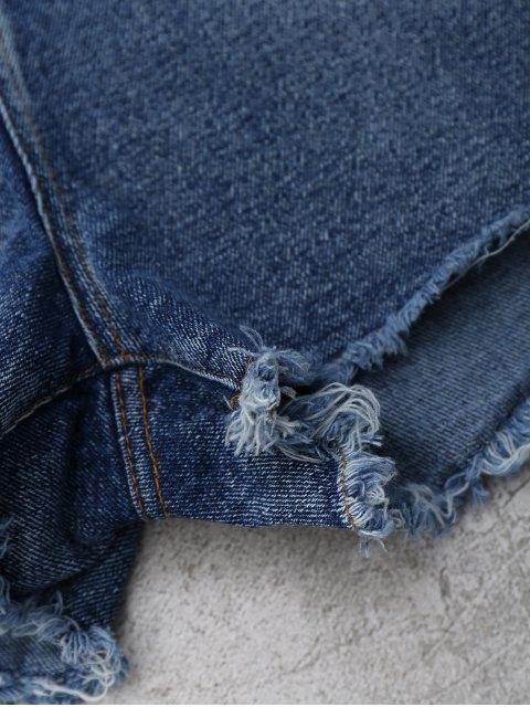 Shorts en denim coupés brodés - Denim Bleu L Mobile