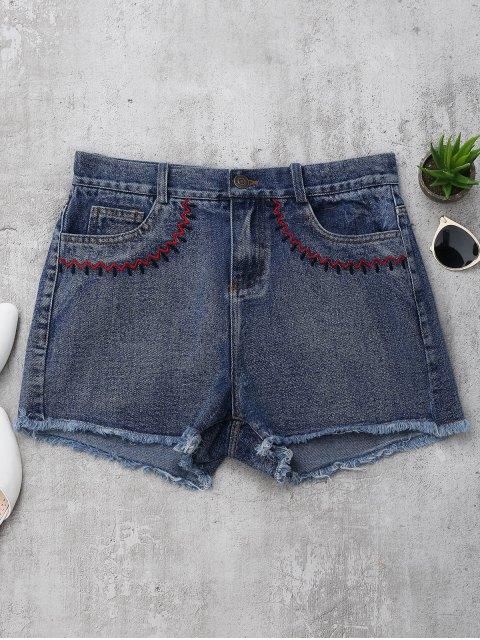 Shorts en denim coupés brodés - Denim Bleu S Mobile