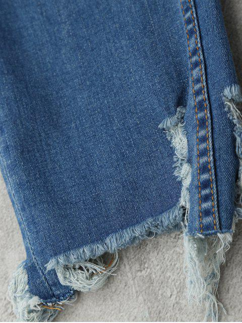 shop Bird Floral Embroidered Ripped Jeans - DENIM BLUE L Mobile