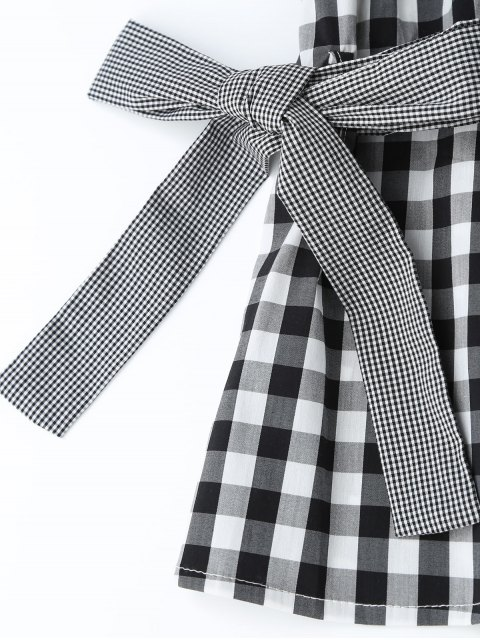 buy Checked Smocked Off Shoulder Casual Dress - CHECKED L Mobile