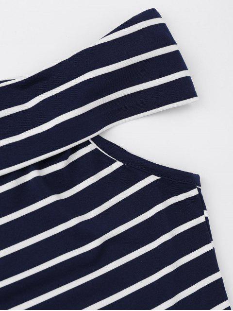 unique Side Slit Off Shoulder Striped Bodycon Dress - STRIPE XL Mobile
