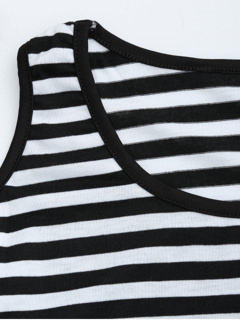 shop Cold Shoulder Striped T-shirt Dress - BLACK M Mobile