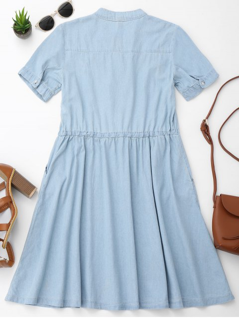 affordable Belted Floral Embroidered Casual Dress - LIGHT BLUE M Mobile