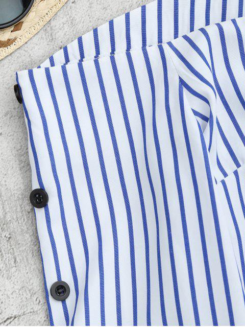 Blouse zippée au dos à rayures à épaules tombantes à manches évasées - Rayure S Mobile