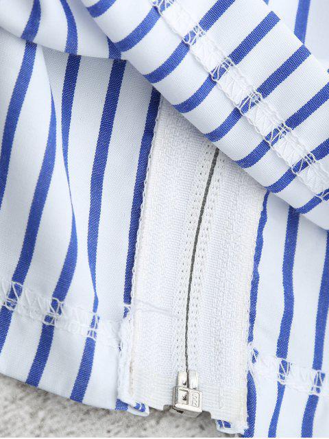 sale Zippered Flare Sleeve Off Shoulder Striped Blouse - STRIPE XL Mobile
