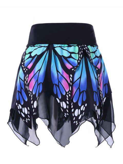 new Butterfly Print Handkerchief Skirt - BLUE 2XL Mobile