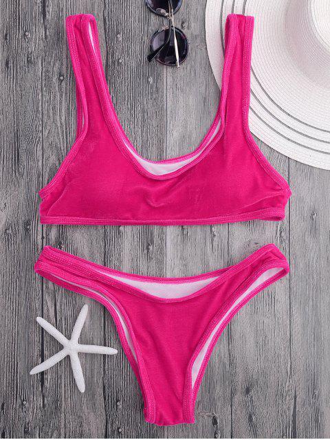 Conjunto de bikini de cucharada de terciopelo Bralette - Rosa S Mobile