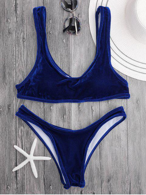 Conjunto de bikini de cucharada de terciopelo Bralette - Azul Royal S Mobile