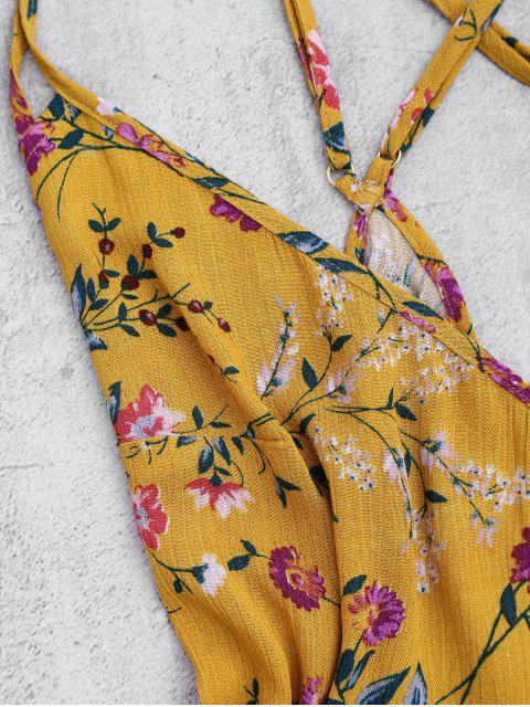 Back Crossed Printed Romper - Floral M Mobile