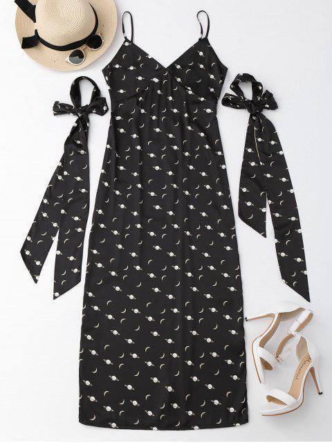 Cami Slit Robe de lune avec cravate de bras - Noir S Mobile