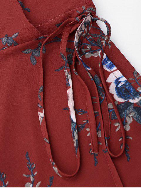 women's Floral Beach Wrap Mini Dress - FLORAL S Mobile