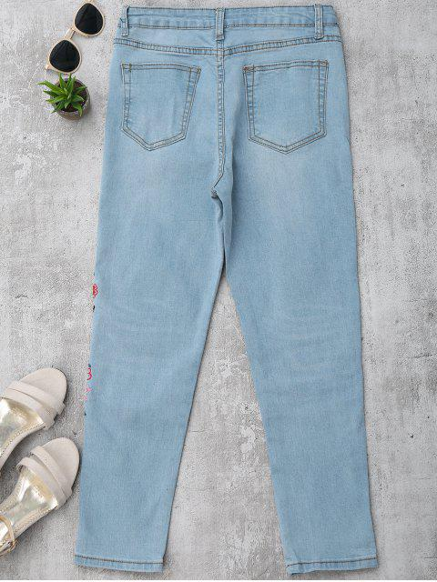 unique Skinny Floral Embroidered Pencil Jeans - DENIM BLUE L Mobile